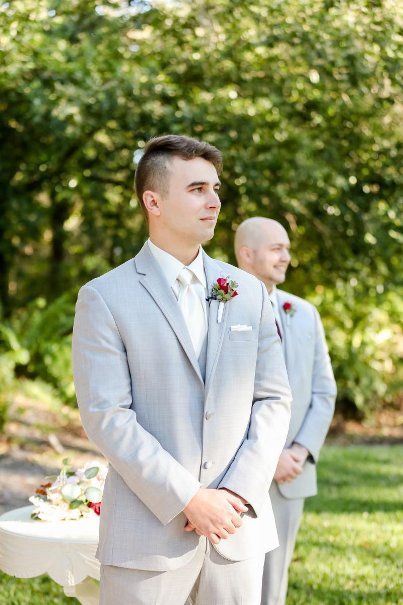 Groom during the wedding ceremony