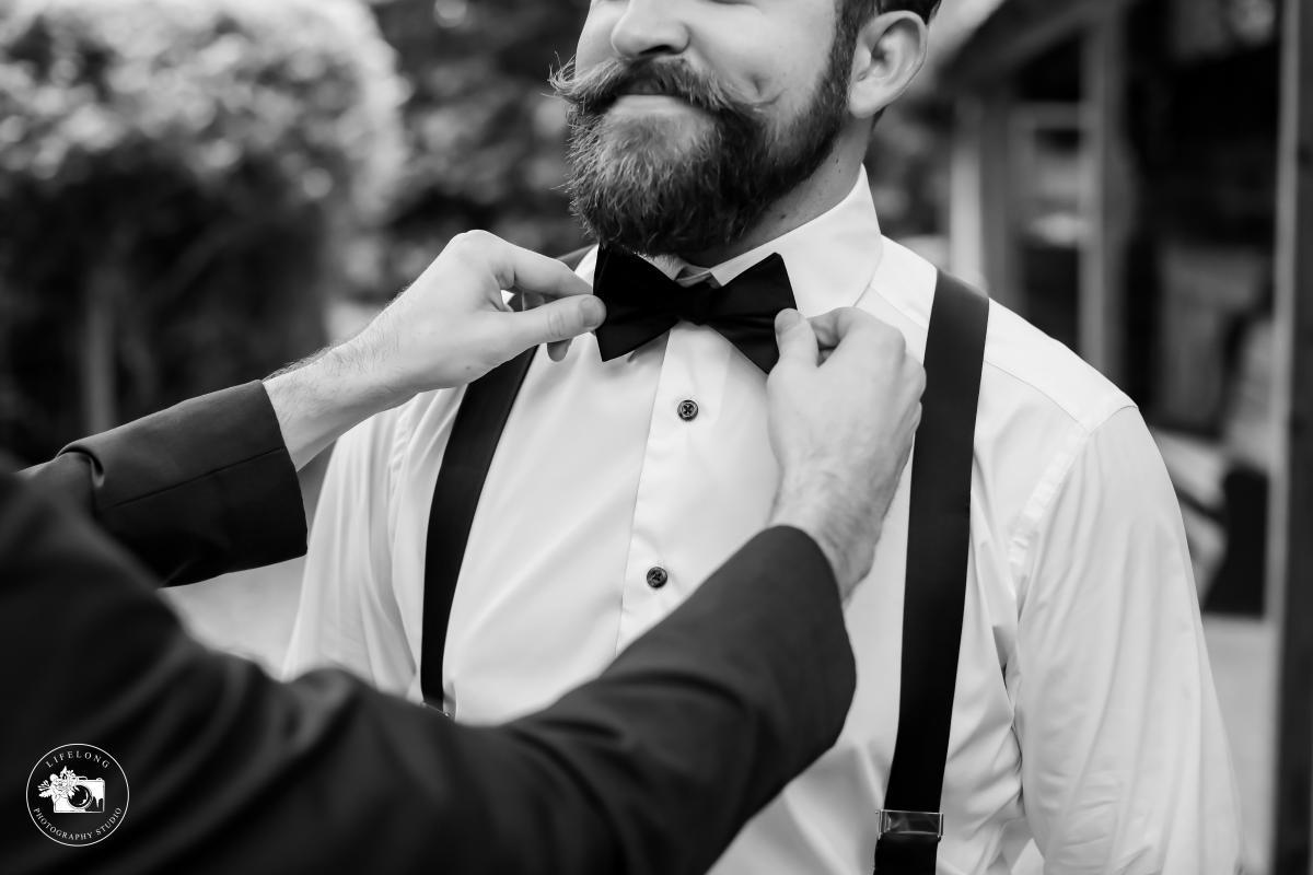 Wedding bowtie captured in black and white