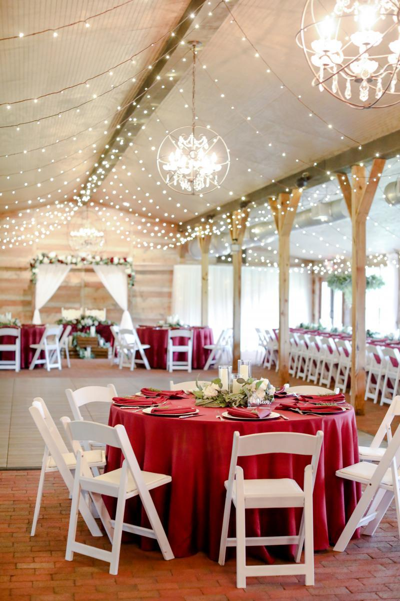 Red and greenery wedding