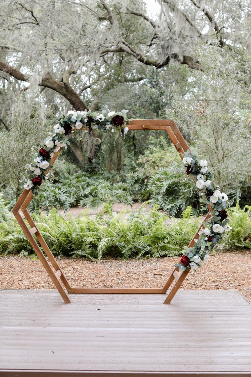 Modern rustic wedding ceremony arch