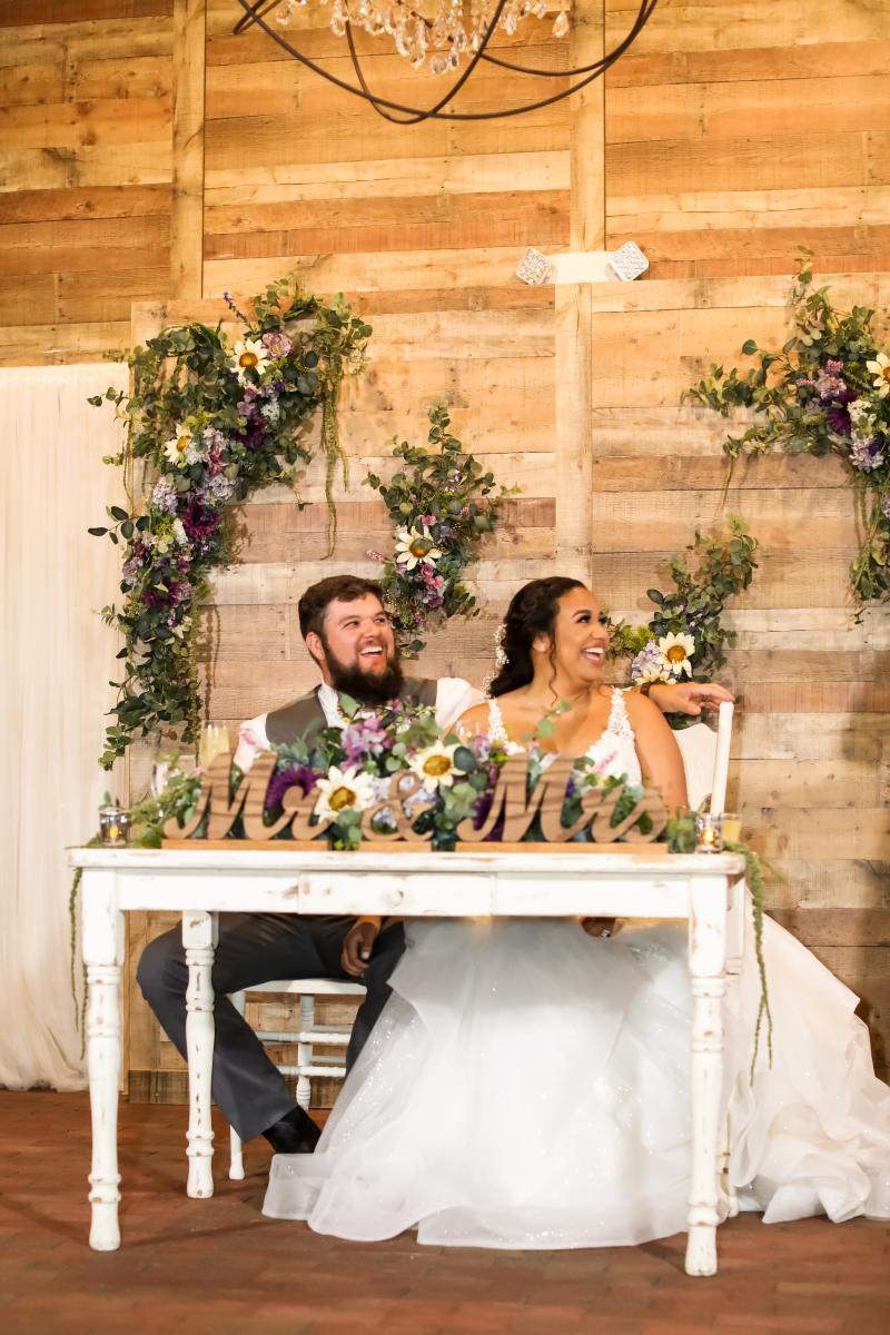 Rustic wedding sweetheart table ideas