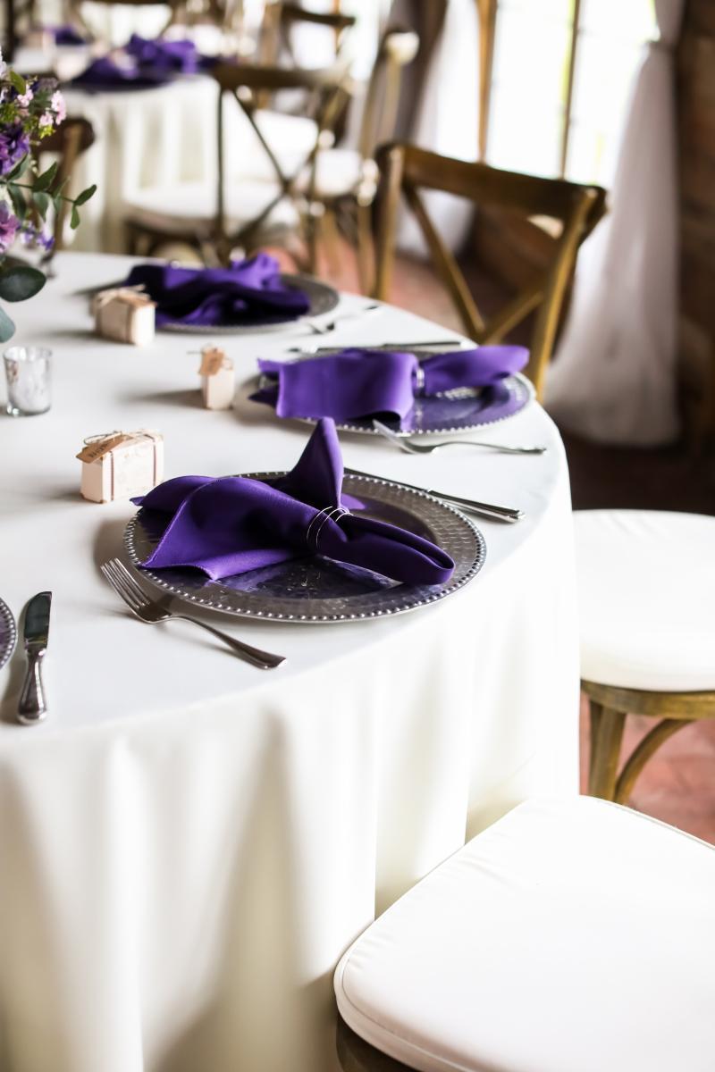 Rustic purple wedding centerpiece