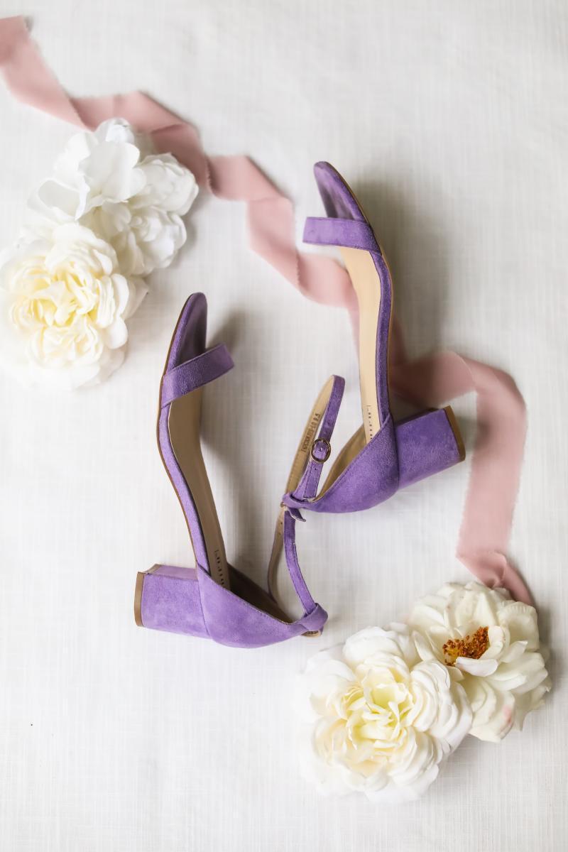 Purple wedding high heel shoes