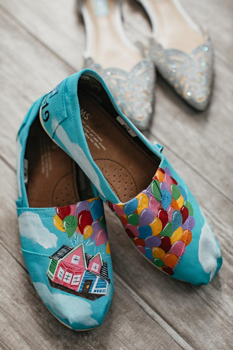 Disney's Up themed wedding shoes