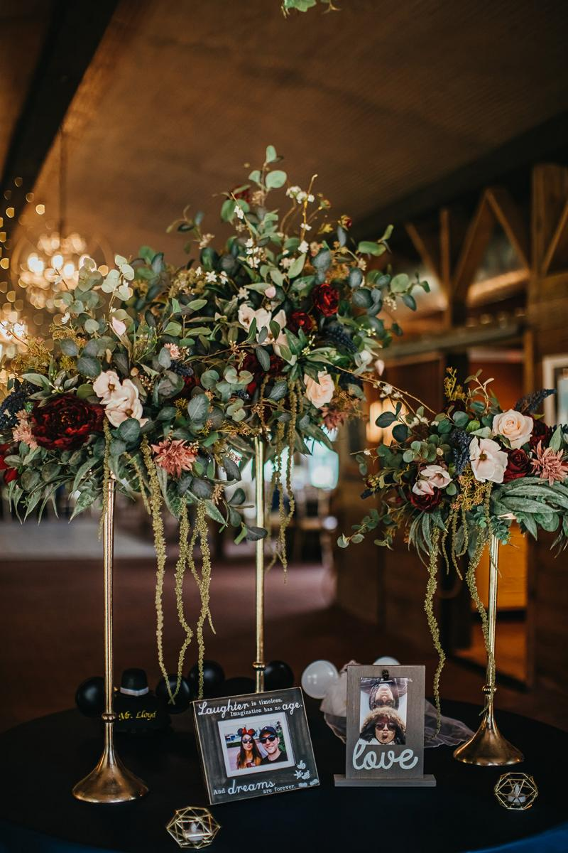 Enchanting wedding reception entrance table decor