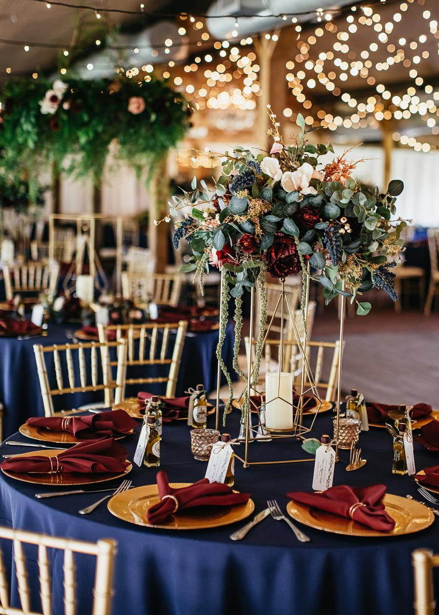Modern boho wedding reception centerpiece