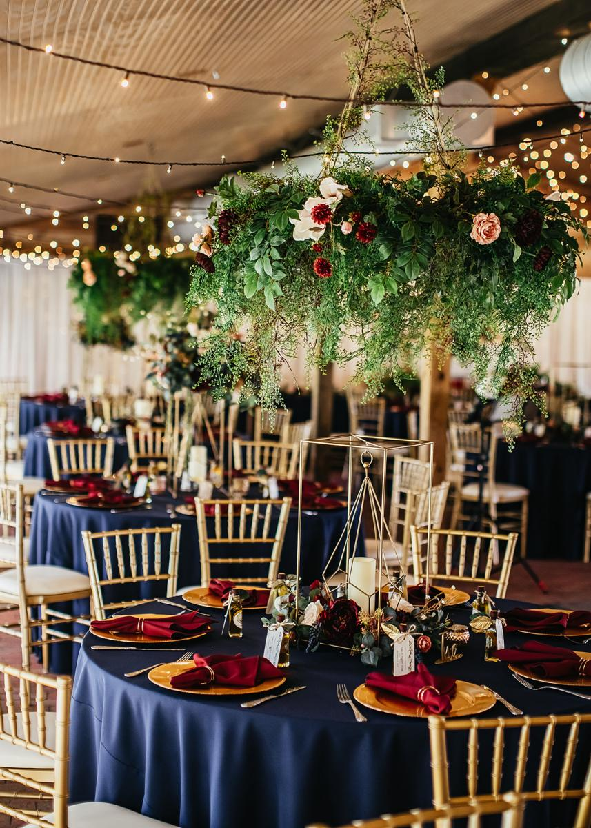 Enchanting wedding reception guest tables and decor.