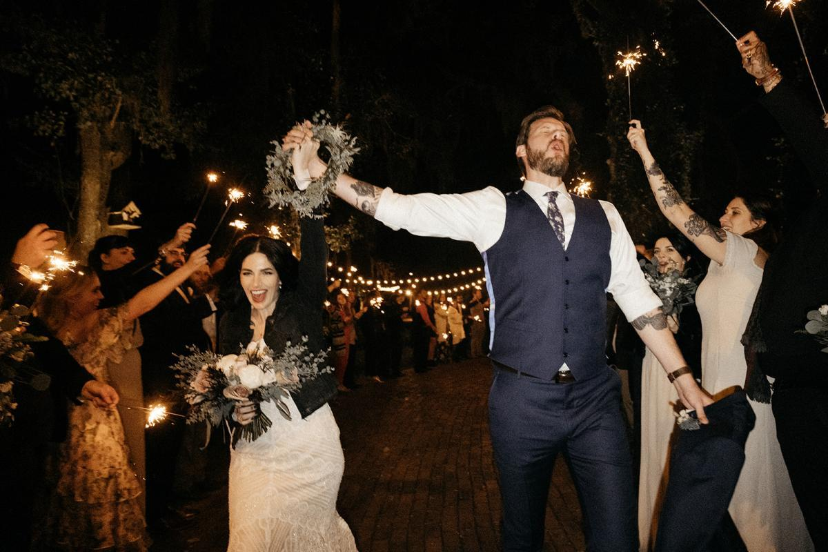 Matt and Jeni's sparkler exit