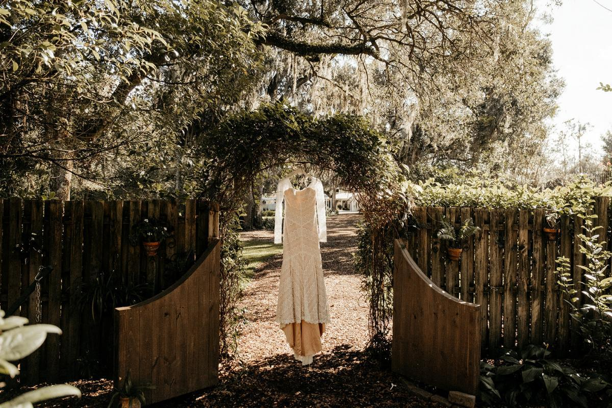 Jeni bought her boho wedding dress from the White Magnolia