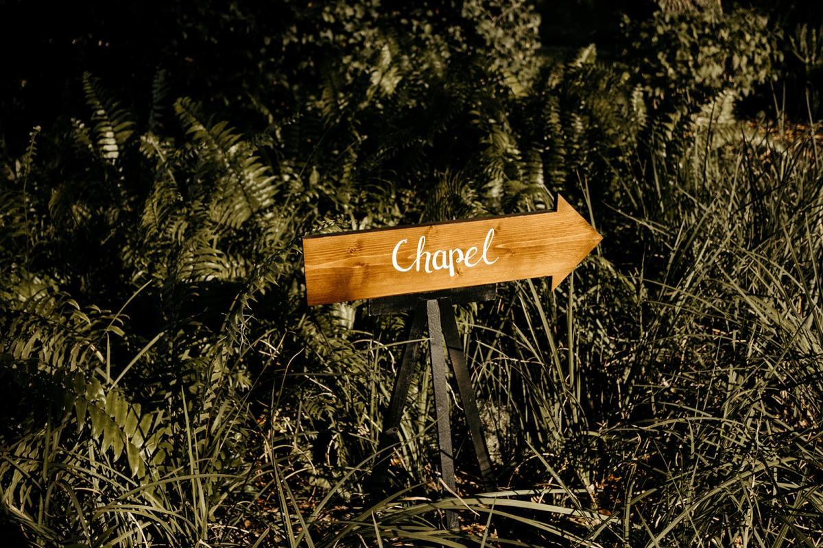 Chapel ceremony sign