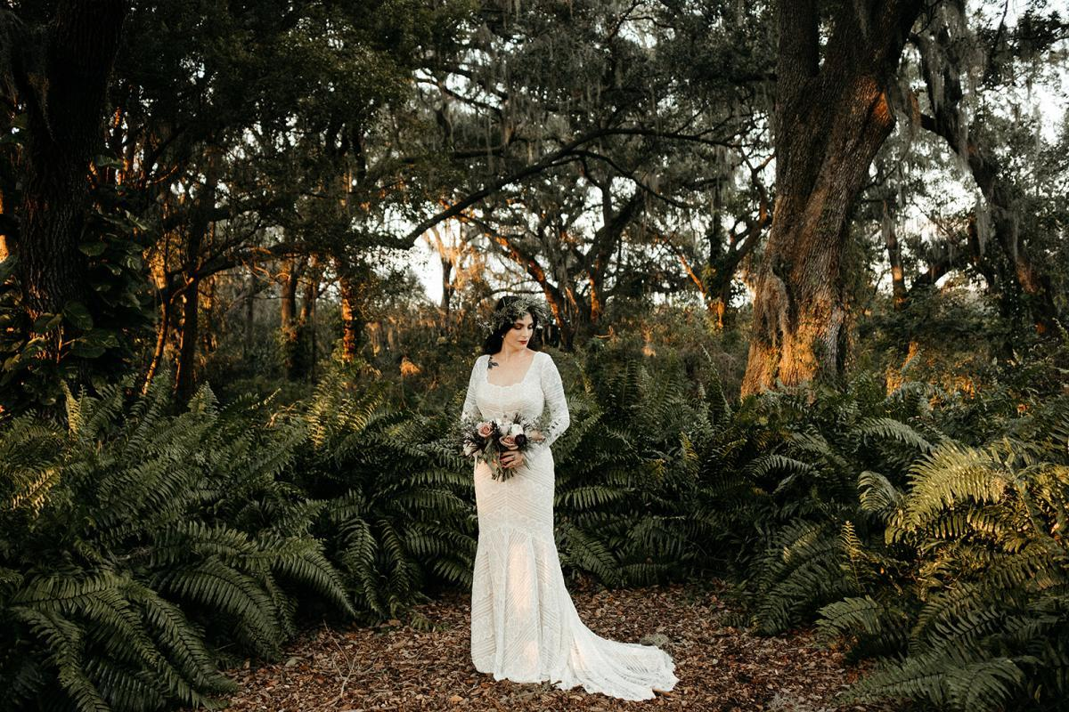 Jeni wearing a boho wedding dress