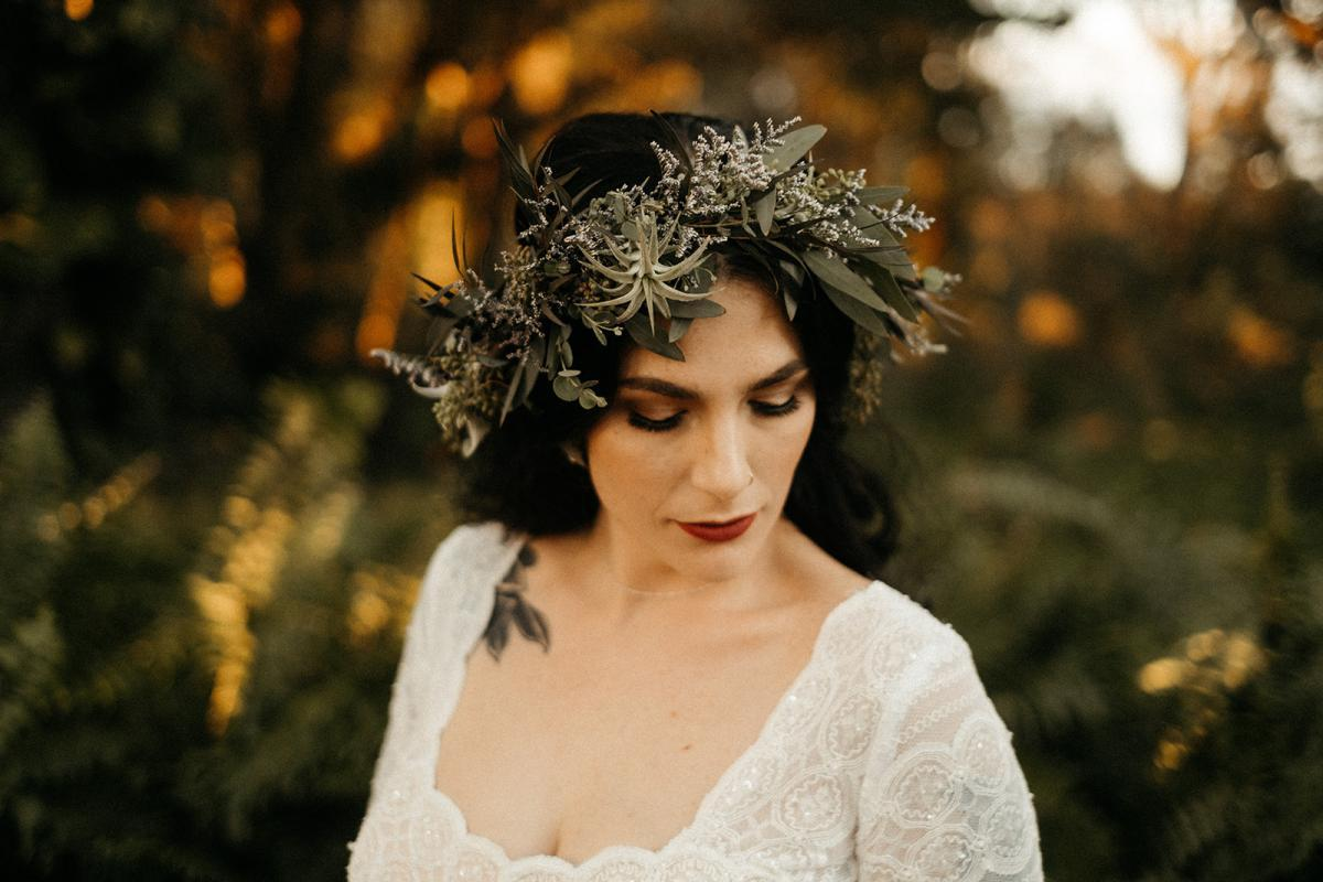 Edgy and modern wedding day hair and makeup