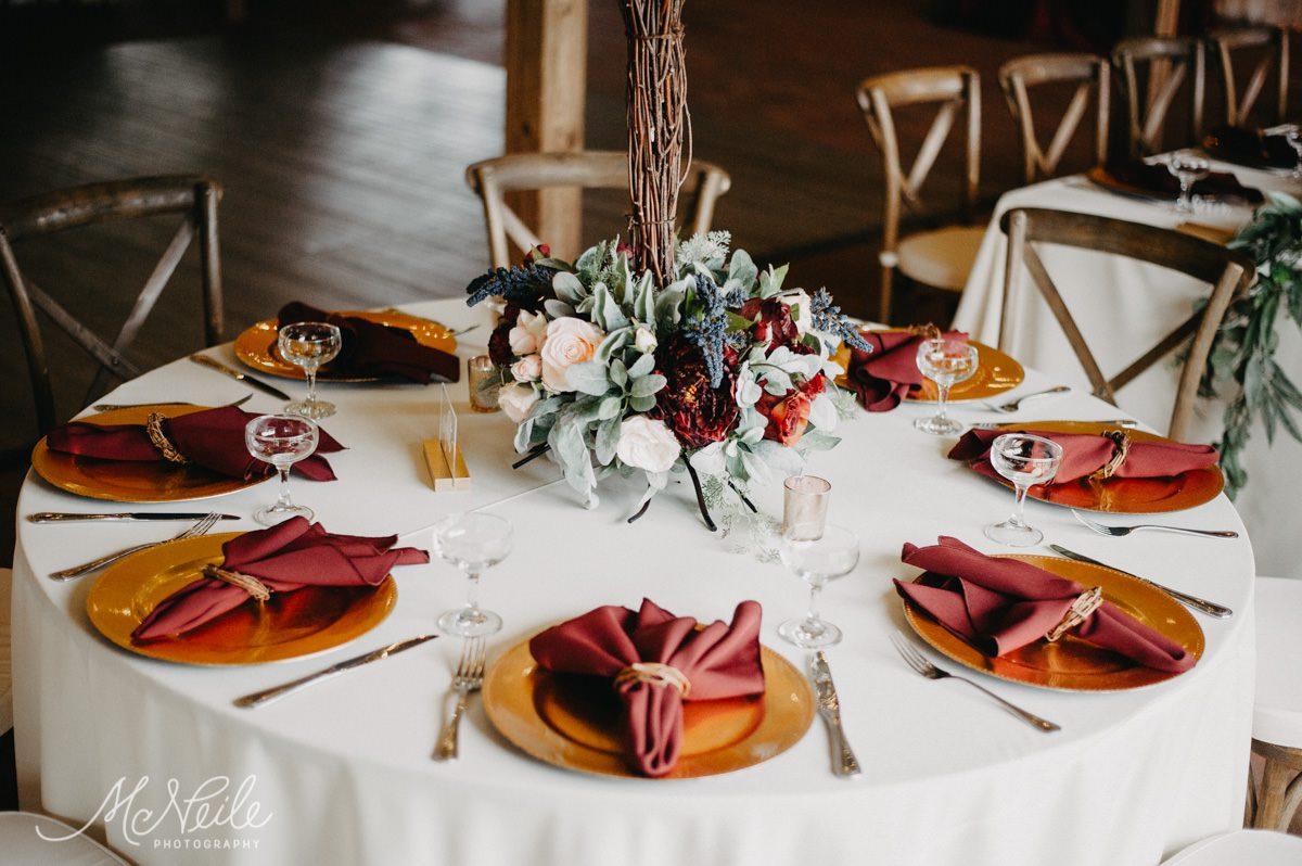 Wedding reception table layout