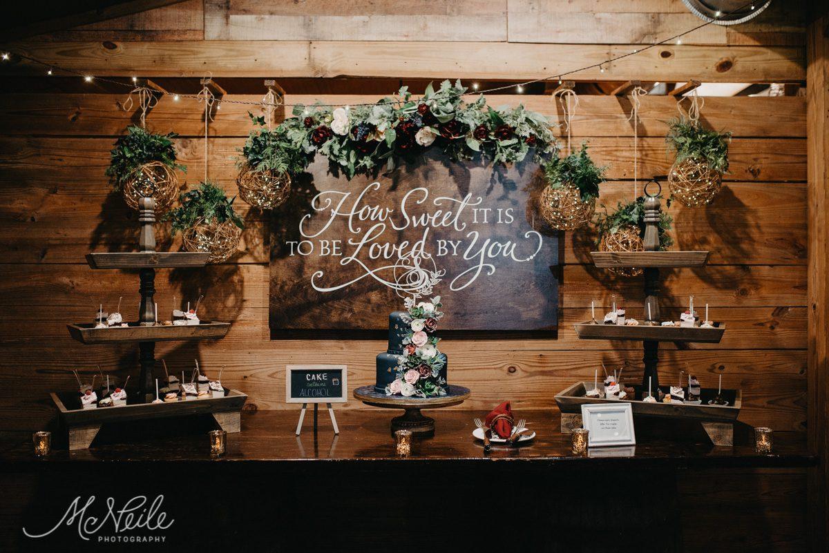 Earthy and enchanting wedding cake table