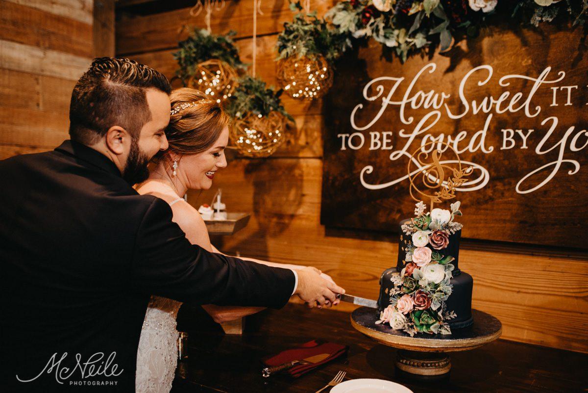 Sarah and Jakob cutting their wedding cake