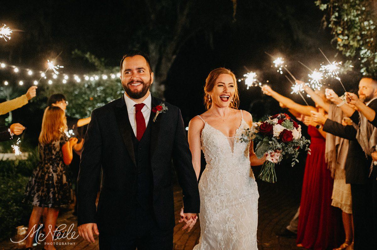 Sarah and Jakob's sparkler exit