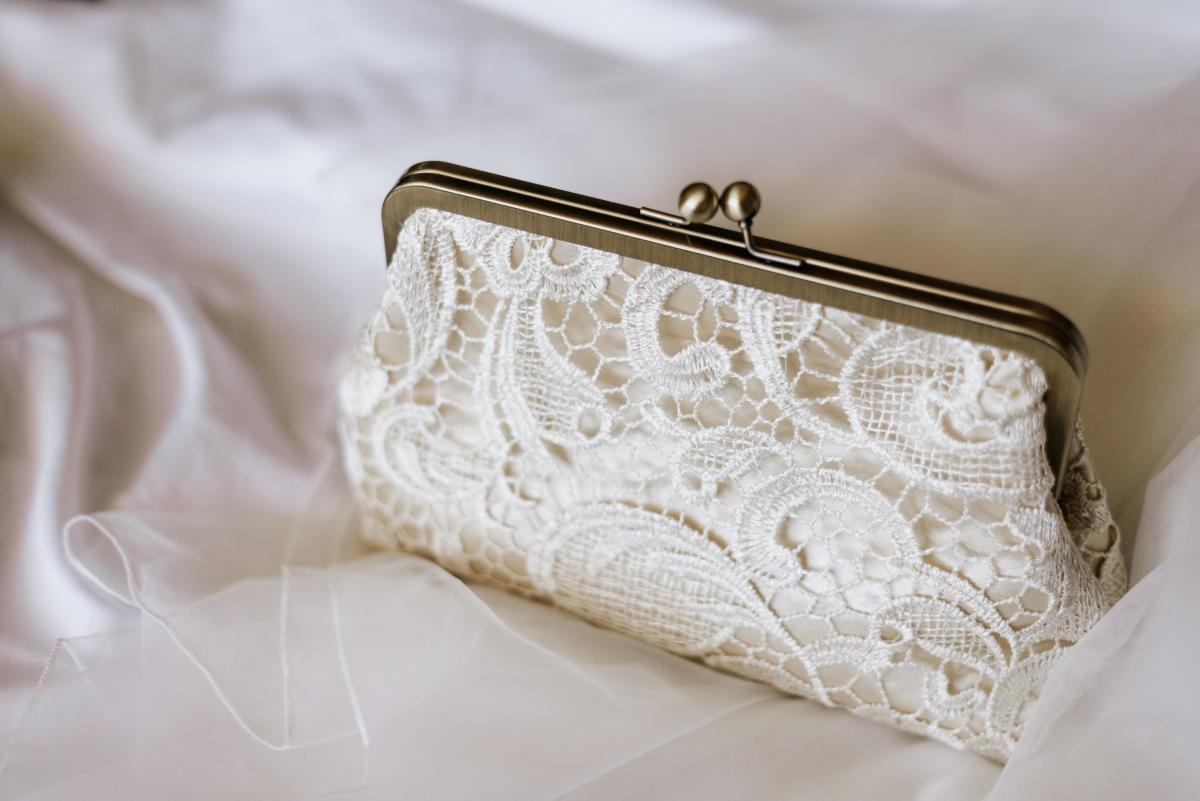 Bridal clutch for wedding day accessories