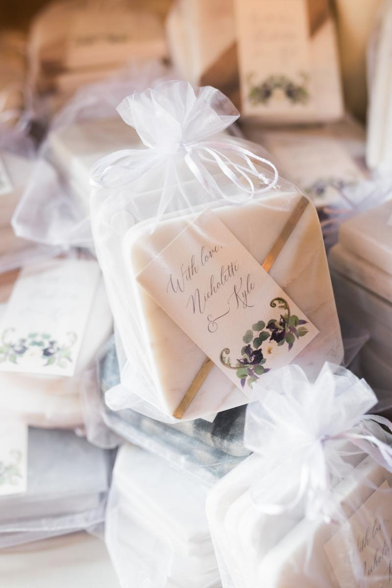 Marble coaster wedding favors