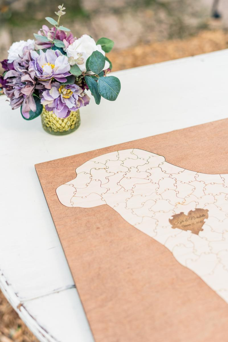 Dog shaped puzzle guest book for wedding