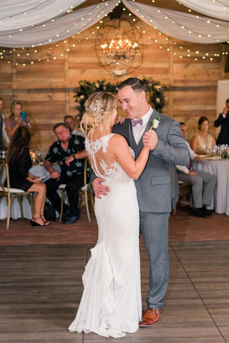 First dance inside our Florida barn wedding venue