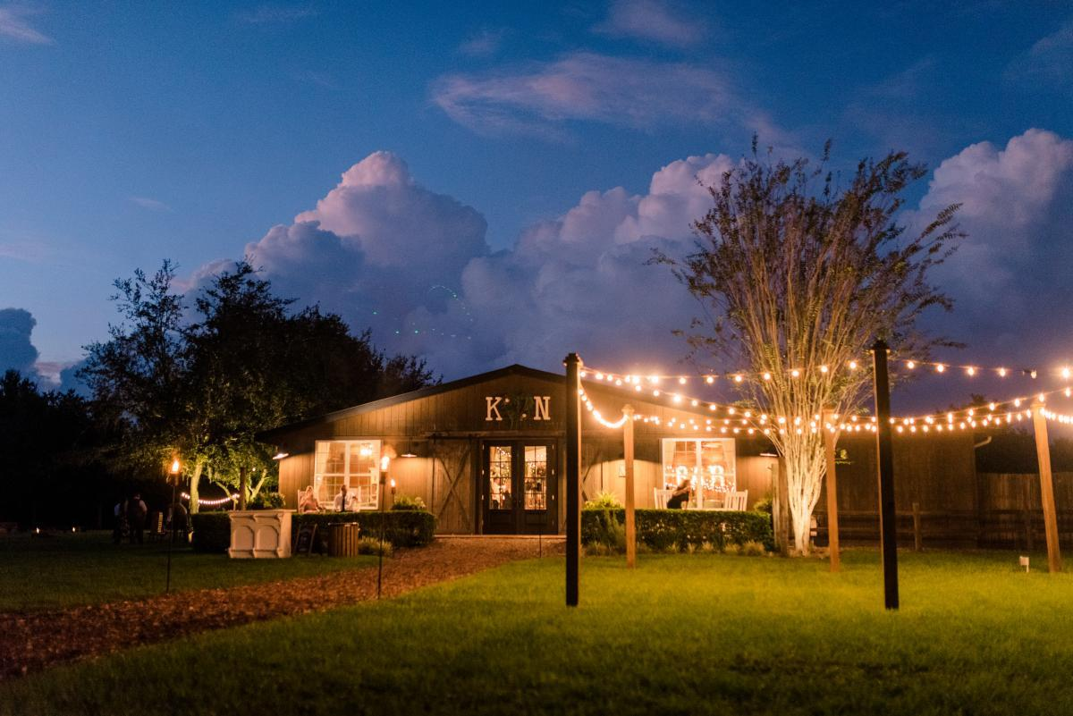 Florida barn wedding venue at night