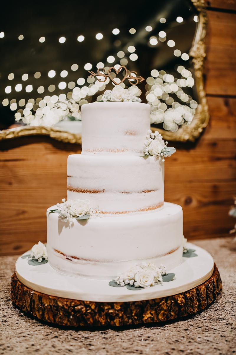Stephanie and Sheyla's simple 3-tier wedding cake