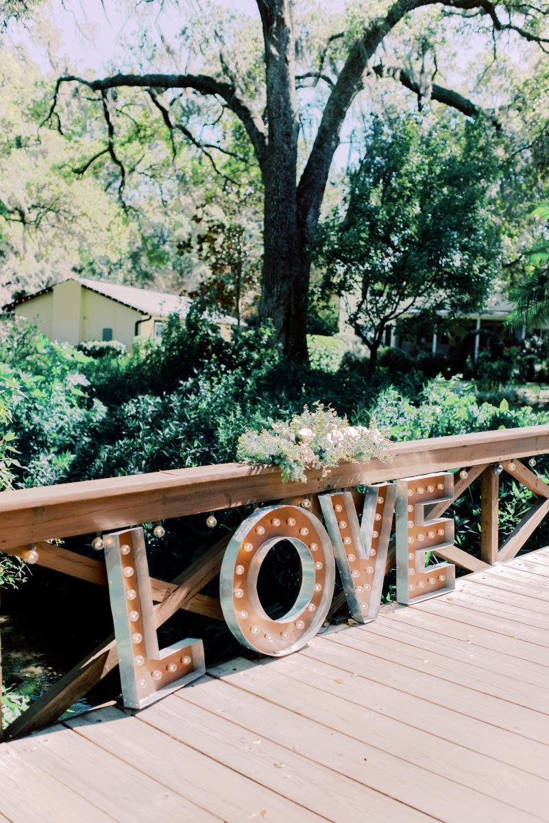 Ultra romantic Love bridge decor