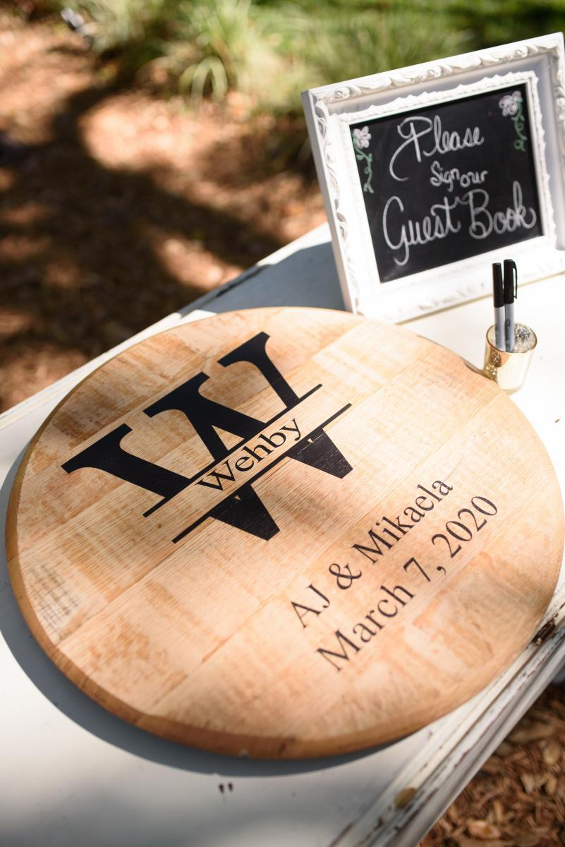 Wine barrel guest book