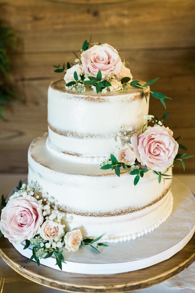 Ultra romantic semi-naked wedding cake