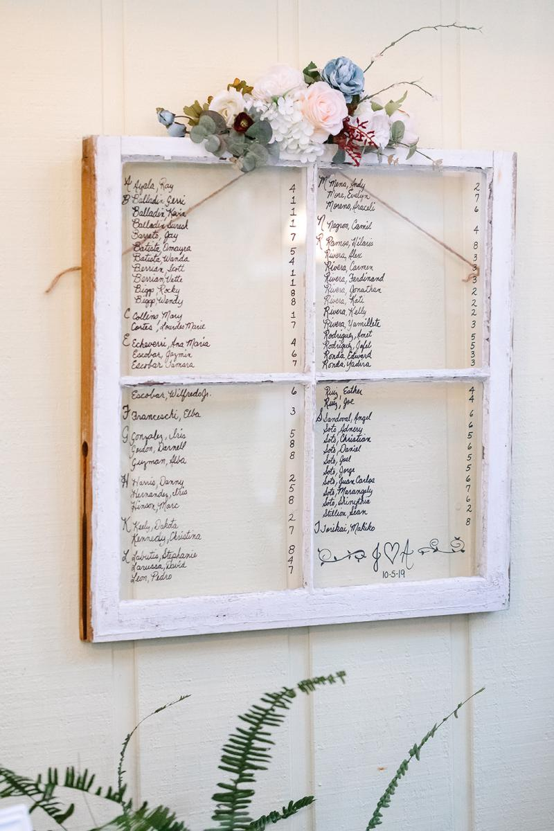 Window pane seating chart