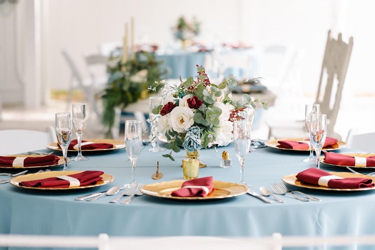 Modern garden wedding centerpiece with succulents