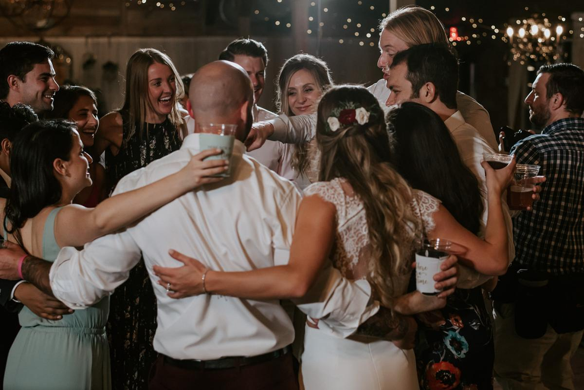Kirstin and Julian dancing with their friends and family
