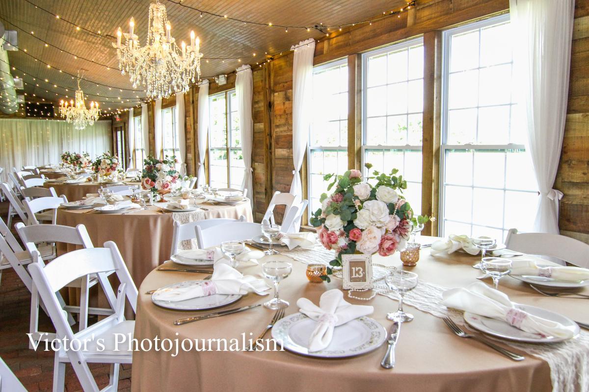 Vintage wedding reception tablescape