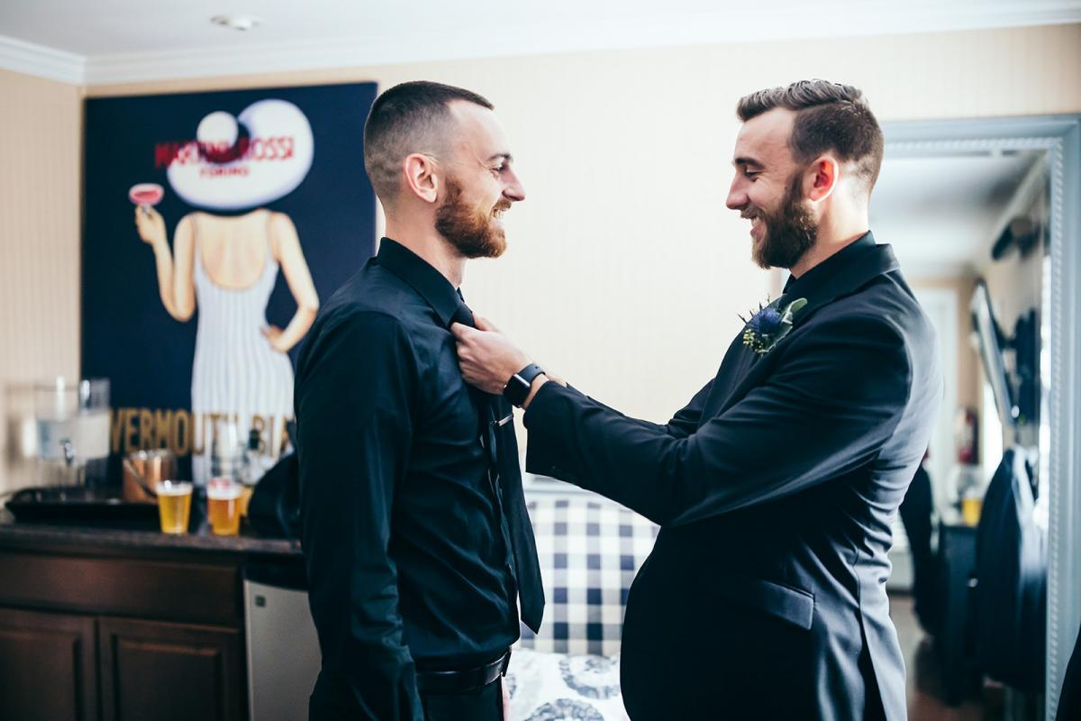 Nick getting ready for his wedding day