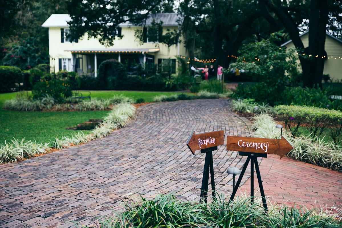 Wedding ceremony and reception signs