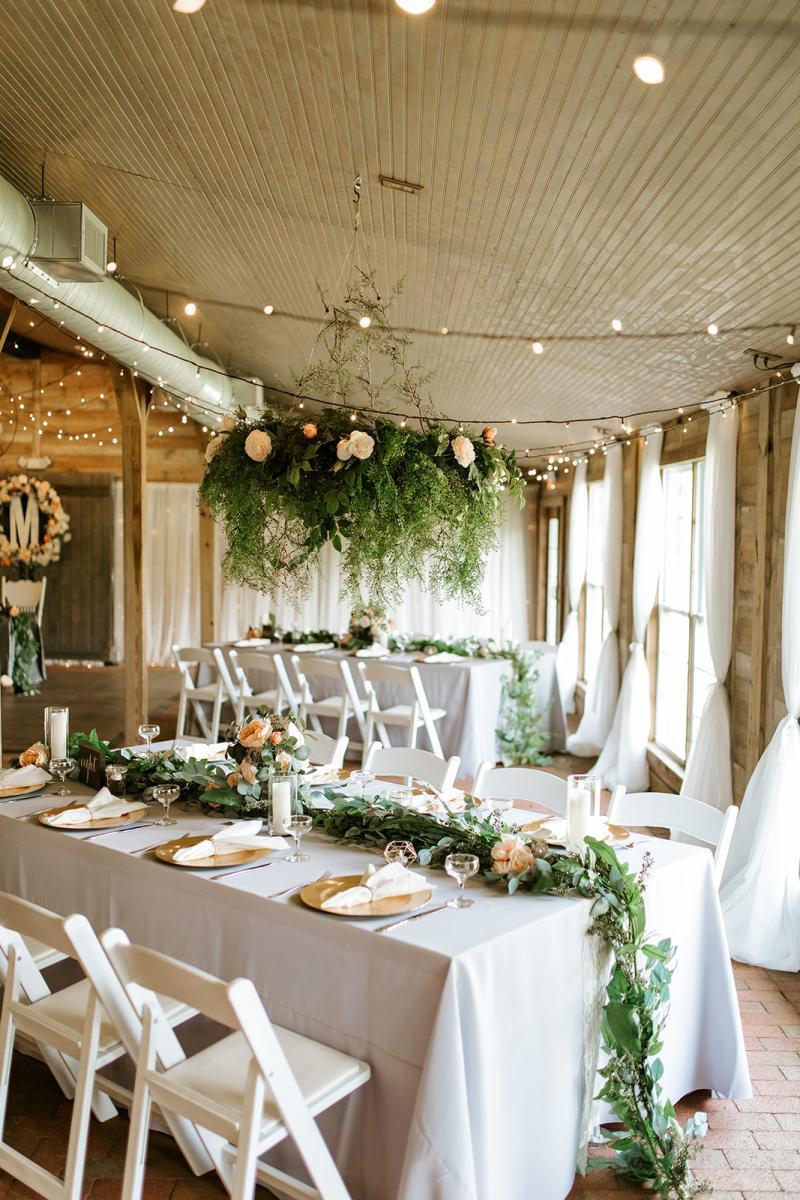 Rustic peach wedding reception decor