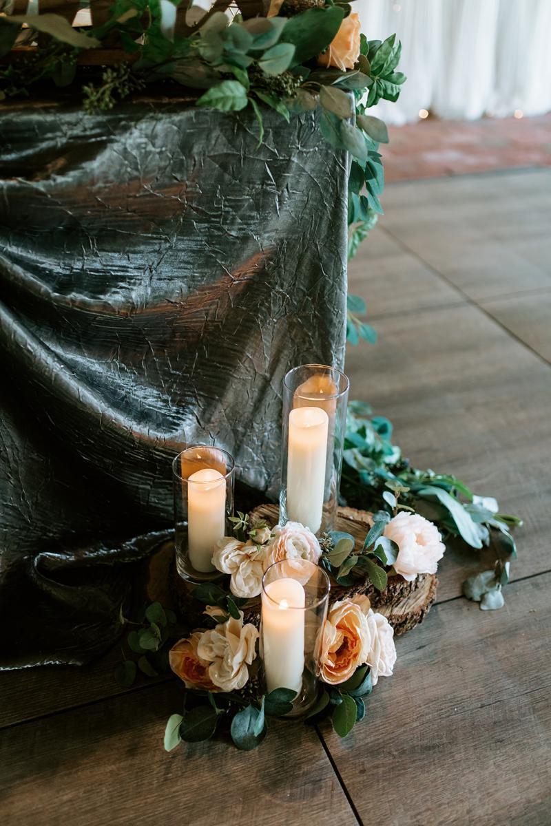 Romantic candle lit wedding reception