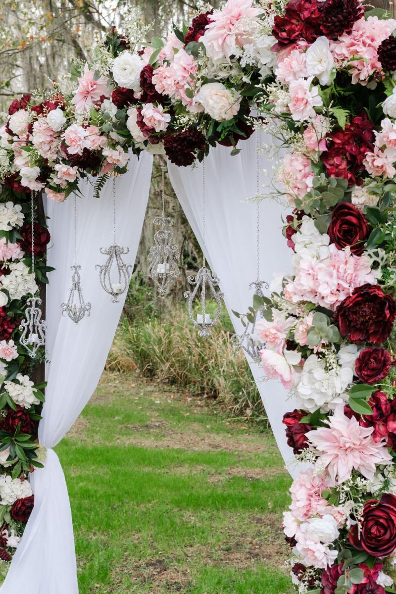 Elegant shabby chic wedding ceremony arch