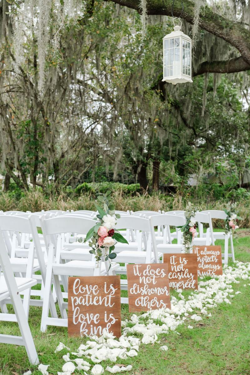 Elegant shabby chic ceremony aisle decor