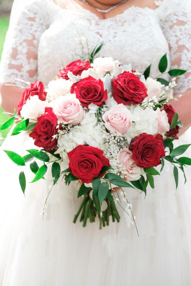 Red, blush and white wedding bouquet