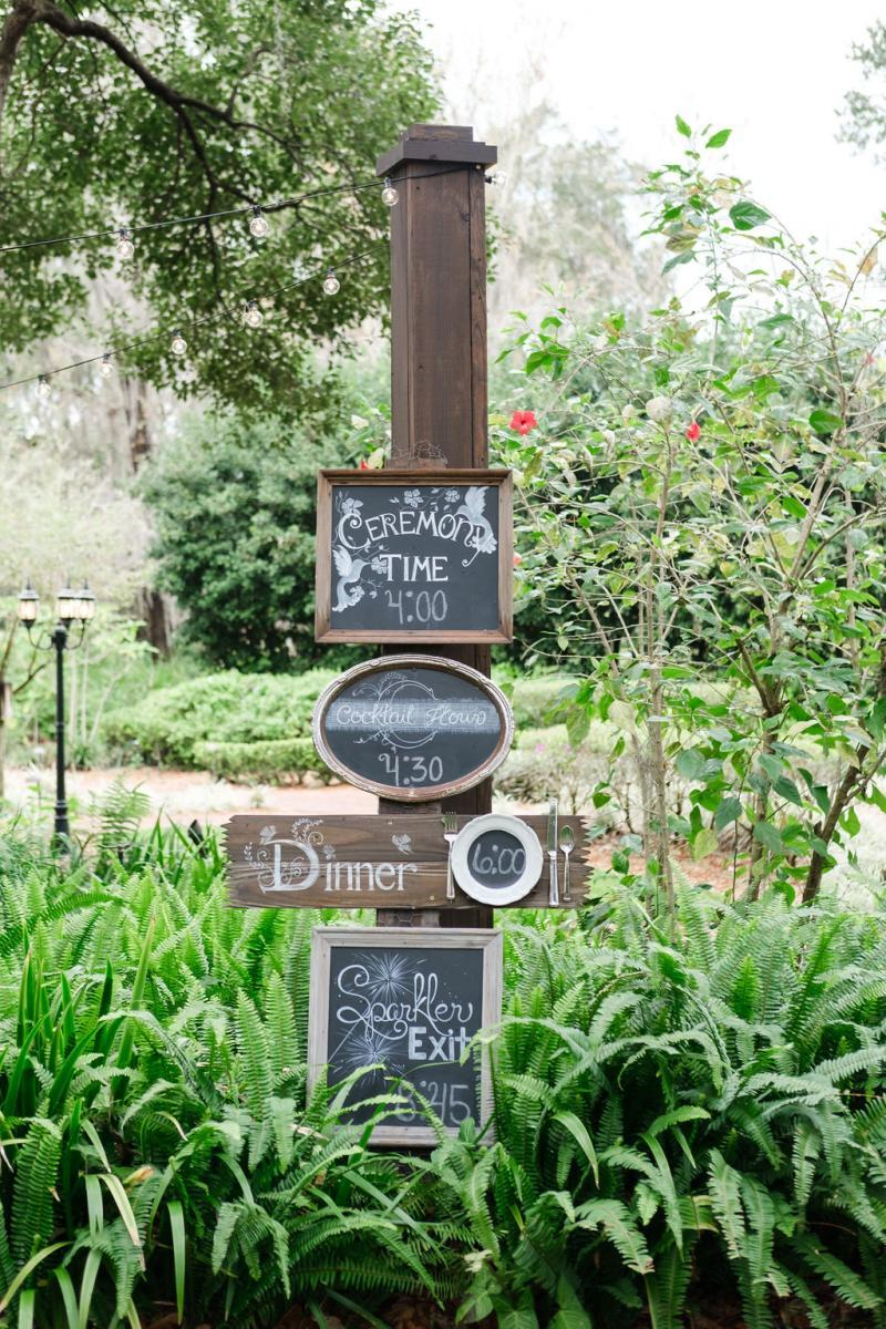 Personalized chalkboard wedding timeline sign