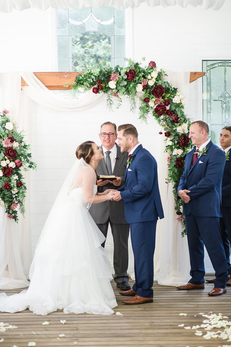 Savannah and William exchanging vows