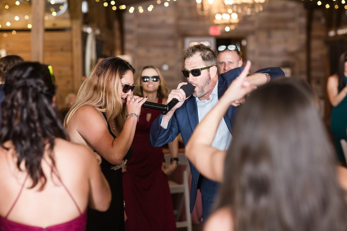 Family singing on the dance floor