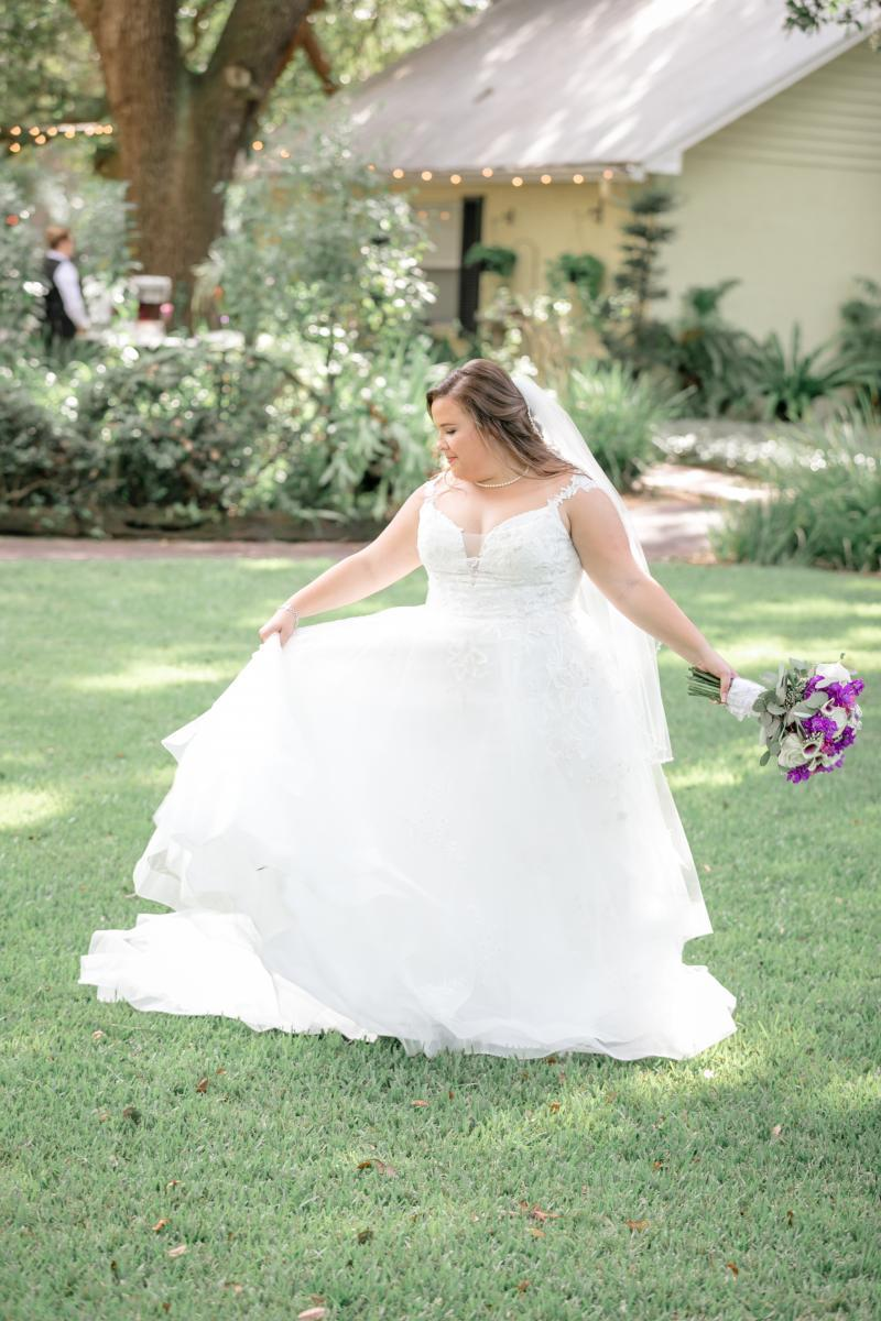 Tampa bride in a flowy ball gown