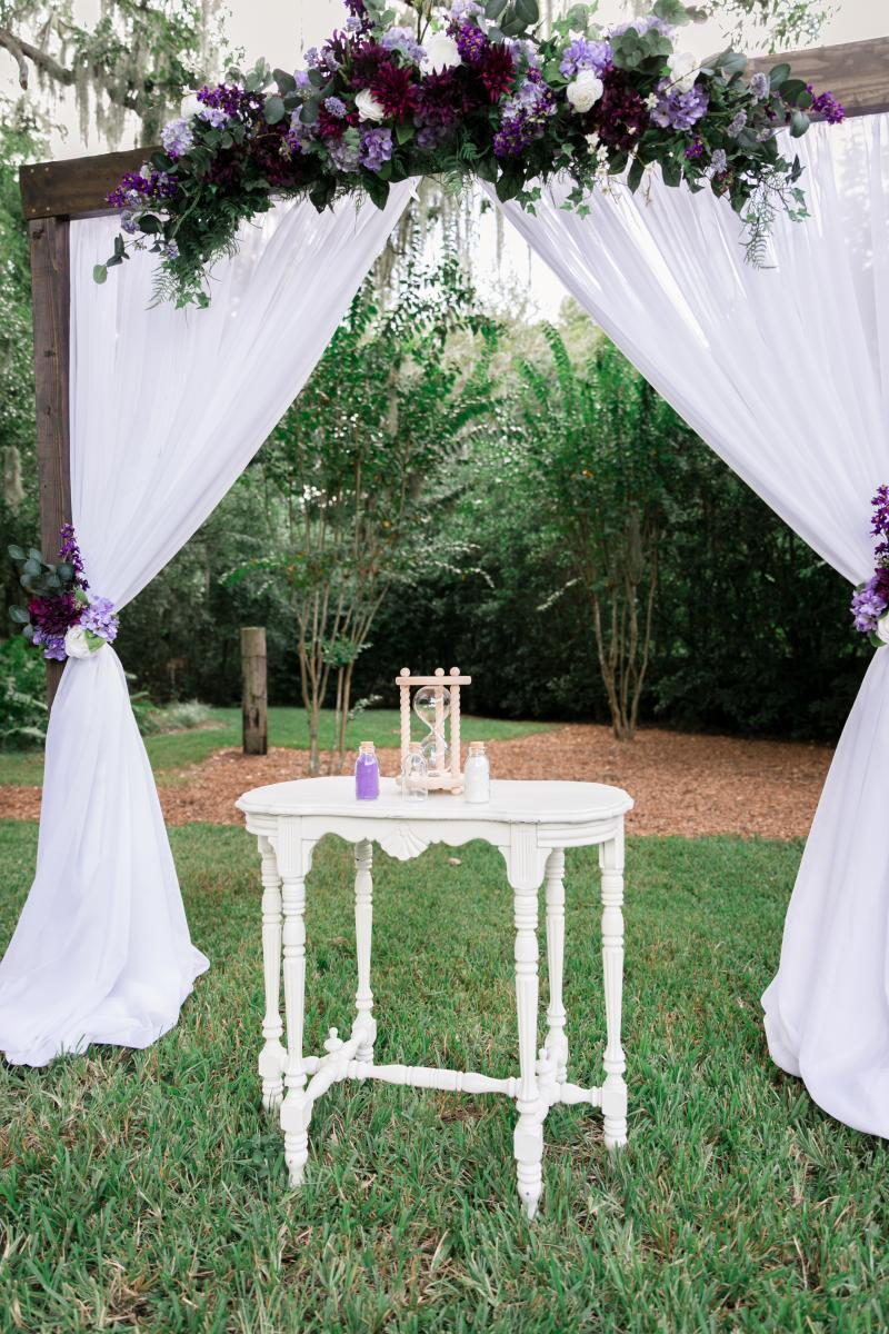 Rustic elegant wedding ceremony arch