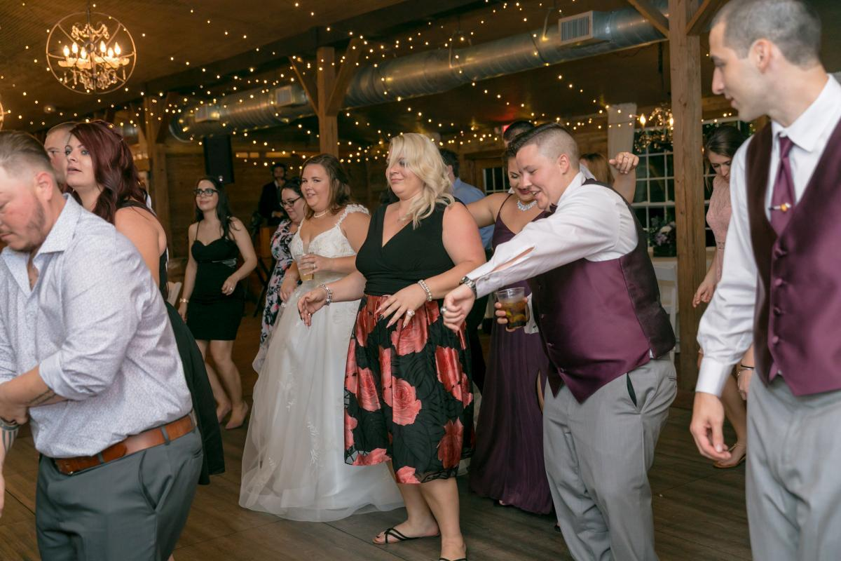 Packed wedding dance floor