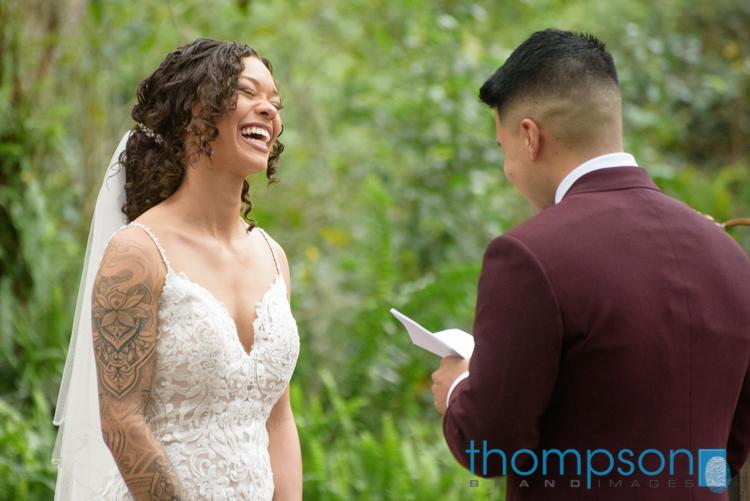 Sweet vows between the bride and groom