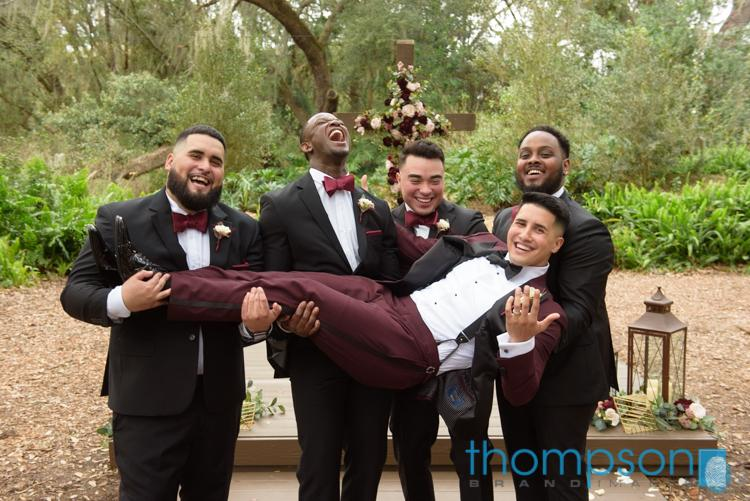 Kevin and his groomsmen are having fun!