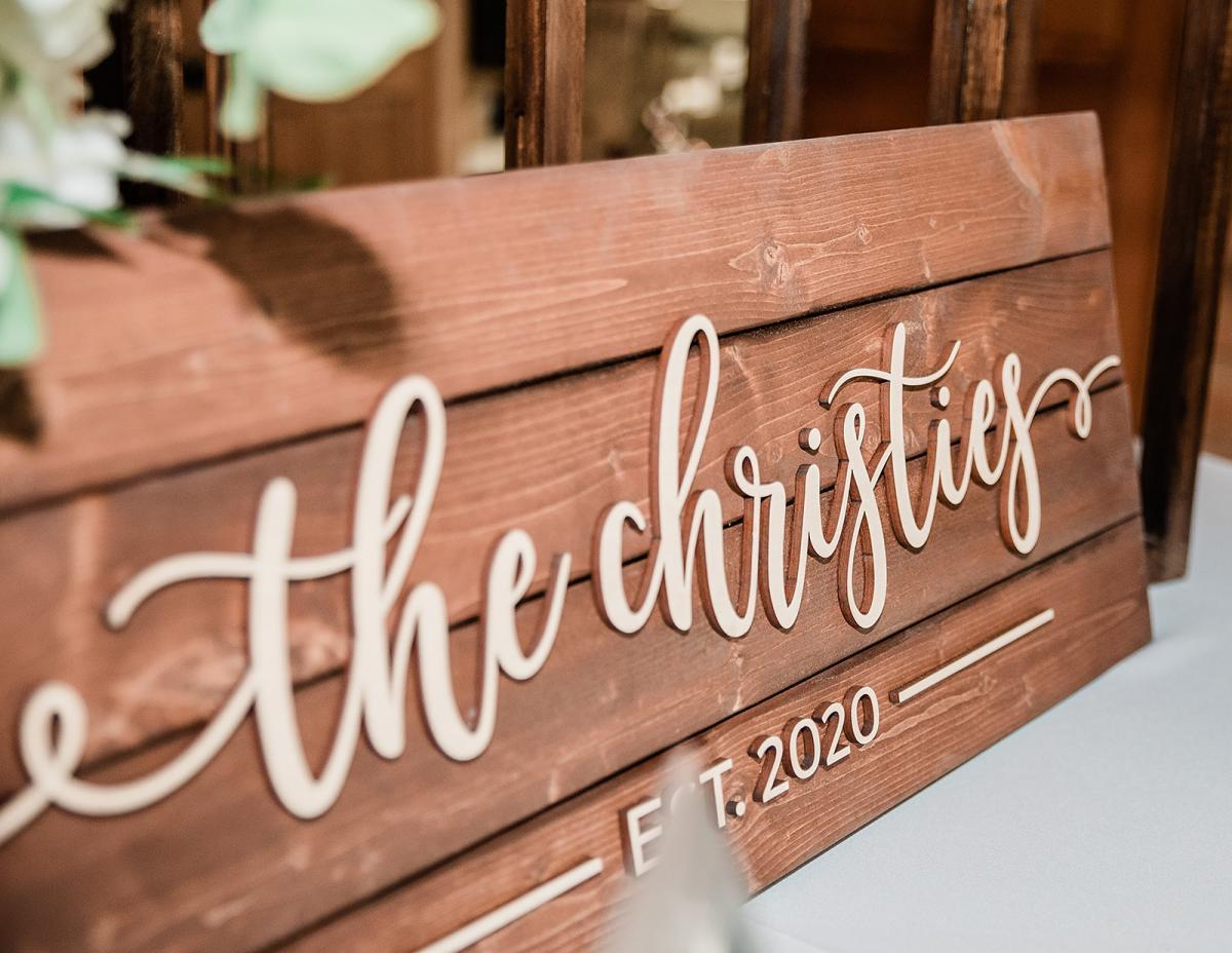 Personalized wood wedding sign