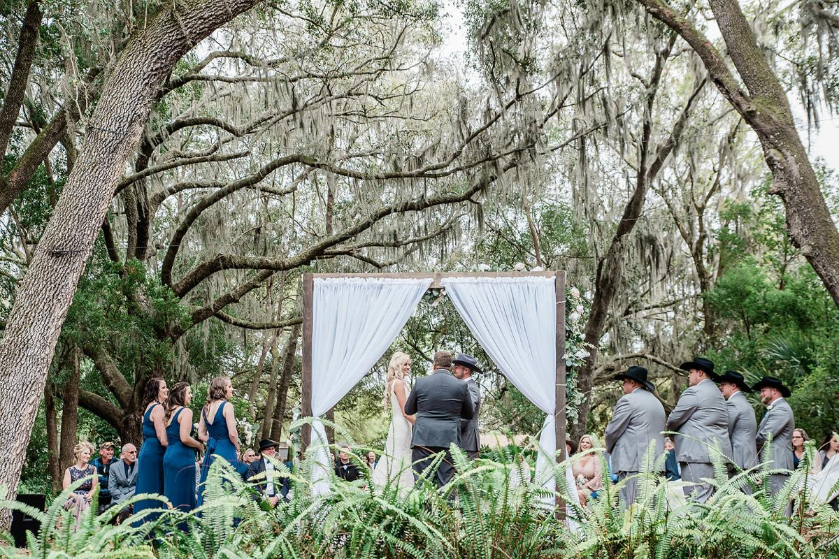 Back view of the Enchanted forest during a wedding ceremony